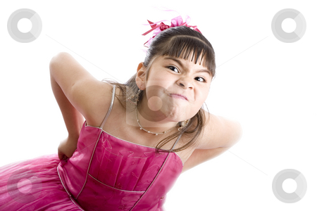 Tantrum! stock photo, Studio shot of female child wearing a fancy dress and having a tantrum, isolated on white by iodrakon