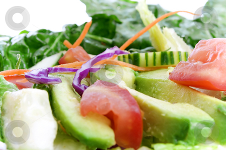 High key close up of salad  stock photo, High key close up of salad includes avocado, tomato, carrot and more by iodrakon