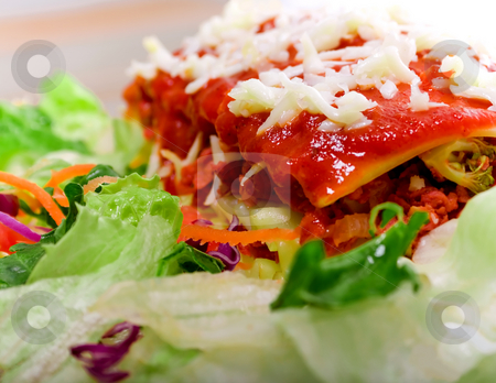 Close up of Lasagana with salad stock photo, Close up of Lasagana with salad - vivid colors by iodrakon