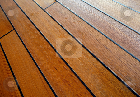 Wet teakwood deck stock photo, Damp and wet teak wood deck by Jill Reid