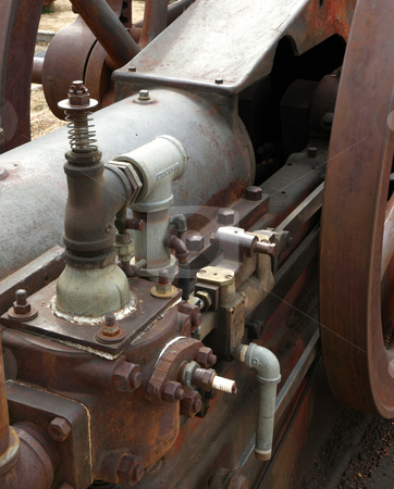 Close-up of antique mechanical engine stock photo, Close-up detail of mechanical antique and vintage engine by Jill Reid