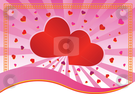 Vector Classic Hearts stock vector clipart, Hearts over radial background with border - In vector version all elements are independent and can be reused by iodrakon