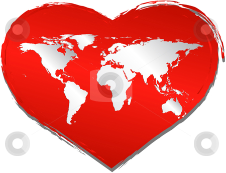 Love in the world stock vector clipart, Heart shape with world map - In vector version all elements are independent and can be reused by iodrakon