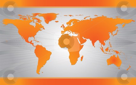 Orange Map of the world stock vector clipart, Map of the world over gray modern background by iodrakon