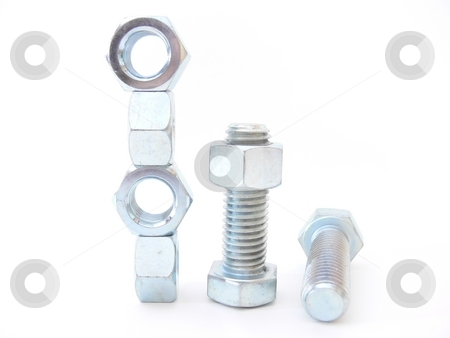 Nut's and bolt's    stock photo, Shiny new nuts and bolts on white background. by Horst Petzold