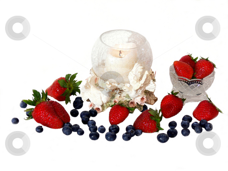 Fruit with candle    stock photo, Strawberries and blueberries wit a round candle holder and 2  doves on white background with shadow. by Horst Petzold