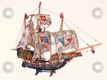 Sail boat     stock photo, A miniature sail boat from Spain from 1402 what sailed to Amerika. by Horst Petzold