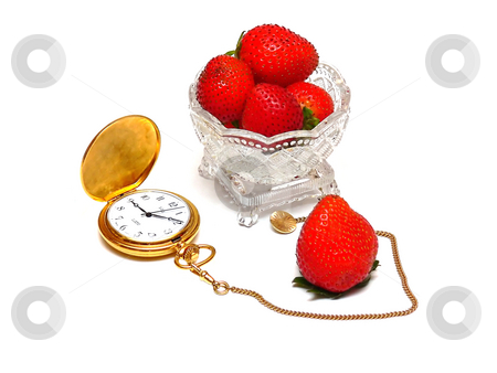 Fruit and pocket watch    stock photo, Strawberries in a small crystal bowl, und a gold pocket watch on white background. by Horst Petzold