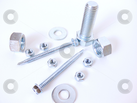 Nuts, bolts and screw   stock photo, Assortment of steel nuts, bolts, screws and washers on a white background. by Horst Petzold