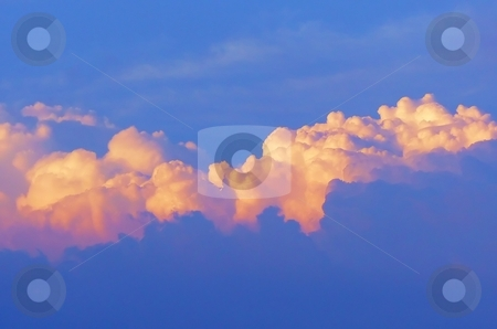 Clouds    stock photo, Beautiful yellow and blue clouds seen from above. by Horst Petzold
