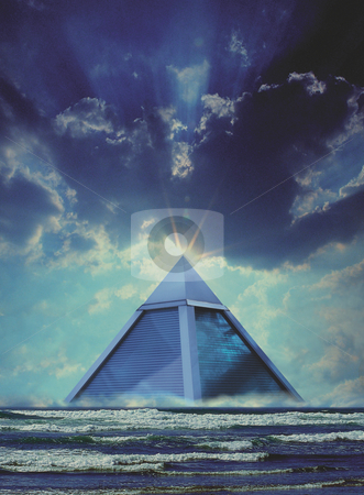The Last of Atlantis stock photo, Blue Glass Pyramid floating on sea by Miguel Dominguez