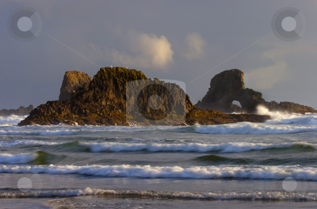 Golden Arch stock photo, An arch in a seastacl off Ecola Beach bathed in the golden light of the setting sun. by Mike Dawson