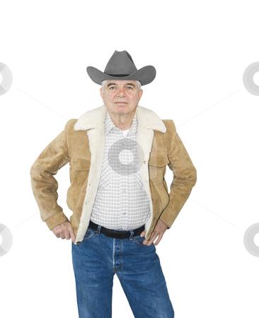 Serious Senior Cowboy stock photo, Serious Senior Cowboy on a white background by John Teeter