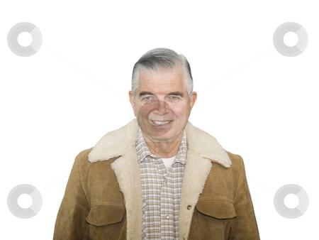 Cowboy Senior Smiling stock photo, Smiling Cowboy Senior on a white background by John Teeter
