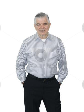 Senior smiling stock photo, Senior smiling on a white background by John Teeter