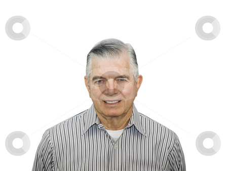 Portrait of happy senior stock photo, Portrait of happy senior citizen on white background by John Teeter