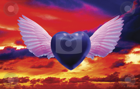 Blue Over You stock photo, Winged Blue Heart flying over Sunset Sky by Miguel Dominguez