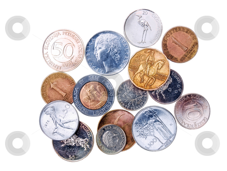 Coins  before Euro stock photo, Some of the money before european euro isolated on a white background. by Sinisa Botas