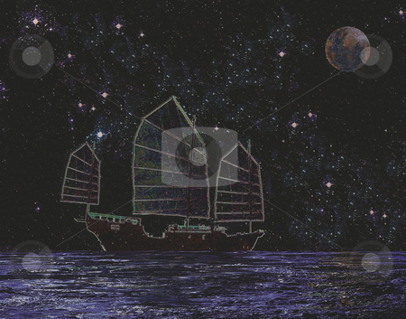 Tales of the Orient stock photo, Chinese Junk sailing at night by Miguel Dominguez