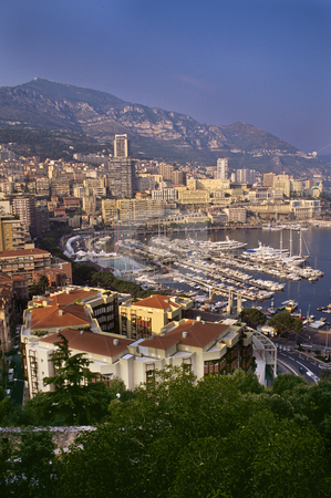 A view of the La Condamine marina and Monte Carlo stock photo, Monaco harbor and marina from Palace plaza by GB Tittle