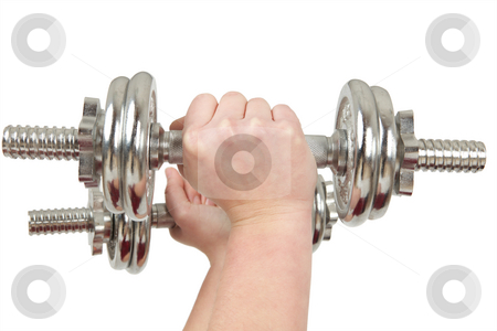 Barbell stock photo, Two hands holding silver barbells by Tom P.