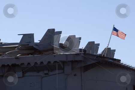 US Navy stock photo, Aircraft on the back of a US aircraft carrier, flying the national flag by Stephen Gibson