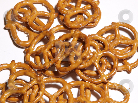 Pretzels stock photo, A color image of pretzels isolated on a white background. by Michael Rice