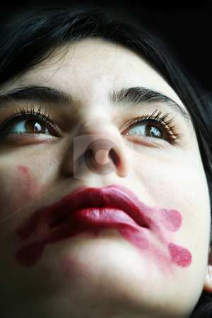 covered by lipstick stock photo, The nice girl is covered by lipstick by Aleksandr GAvrilov
