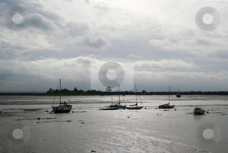 Stuck at Low Tide stock photo, Very low tide on the Blackwater Estuary, heybridge basin, Essex, UK by Helen Shorey