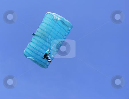 Blue parachute stock photo, A blue parachute on a bright sunny day. by Ivan Paunovic