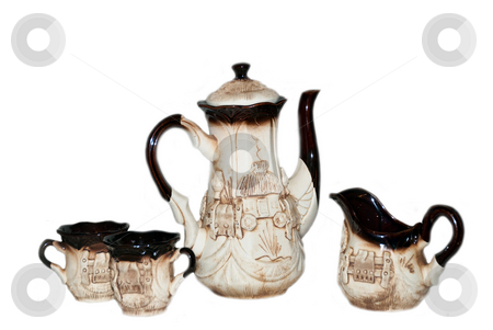 Ceramic coffe-pot stock photo, Ceramic coffe-pot with tea cups and milk cup by Alexey Rumyantsev