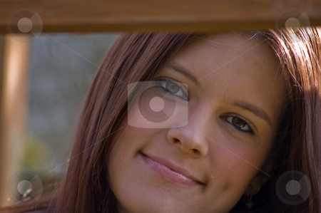 Brown Eyed, Brunette Young Adult Woman stock photo, This brown eyed, brown hair young adult woman is very attractive as she is leaning against a wooden rail. by Valerie Garner