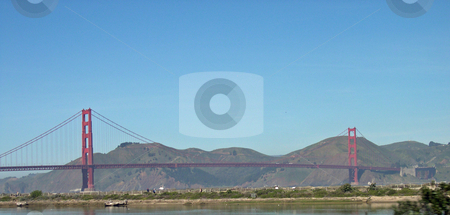 Golden Gate bridge  stock photo, Golden Gate bridge with hills in the background by Jaime Pharr