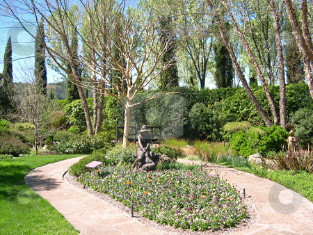 Garden and statue in Sonoma stock photo, Garden and statue in Sonoma by Jaime Pharr