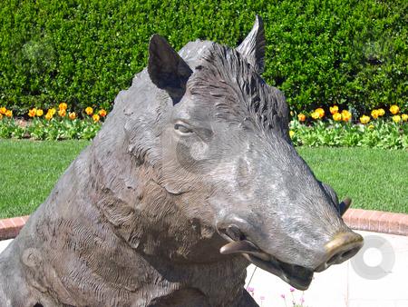 Boar statue stock photo, Boar statue in garden by Jaime Pharr