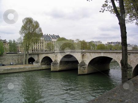 Seine river and bridge in Paris stock photo, Seine river and bridge in Paris by Jaime Pharr