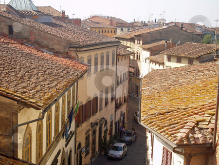 Tuscan Rooftops stock photo, Rooftops and street with sunlight and shade in Tuscany Italy by Jaime Pharr
