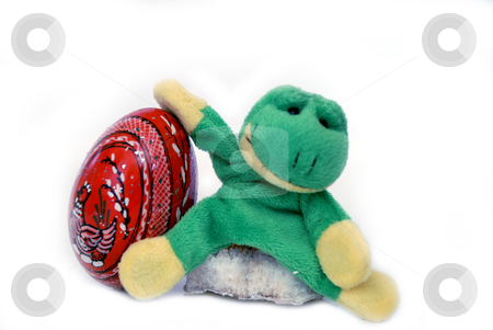 Fun frog series stock photo, Fun frog with easter egg isolated on a white background by Alexey Rumyantsev