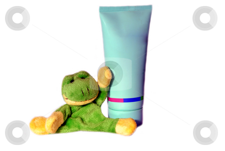 Fun frog series stock photo, Fun frog with tube of cream isolated on a white background by Alexey Rumyantsev
