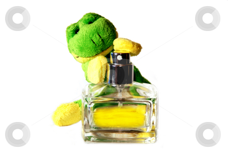 Fun frog series stock photo, Fun frog with parfume isolated on a white background by Alexey Rumyantsev