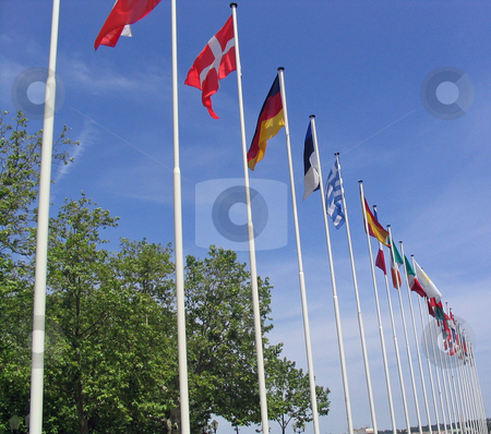Flags of many countries stock photo, Flags of many countries in Montpellier France by Jaime Pharr