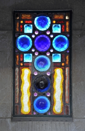 Stained glass in Pere Lachaise stock photo, Stained glass window in Pere Lachaise cemetary, Paris France by Jaime Pharr