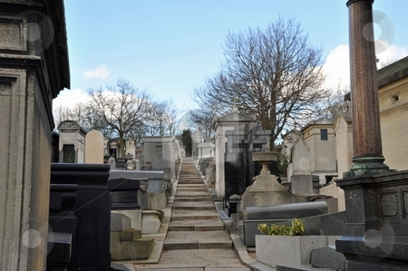 Cemetery steps stock photo, Steps in Pere Lachaise cemetery, Paris France by Jaime Pharr