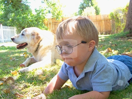 Little boy with Downs Syndrome and his dog stock photo, Little boy with Downs Syndrome and his dog by Gregory Dean
