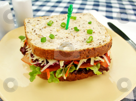 Jumbo Salad Sandwich stock photo, Large freshly made salad sandwich ready to serve. by Brett Mulcahy