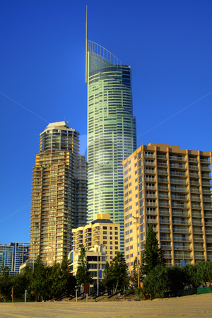 Surfers Paradise Skyline stock photo, Group of apartment towers including Q1 in Surfers Paradise on the Gold Coast Australia just after sunrise. by Brett Mulcahy