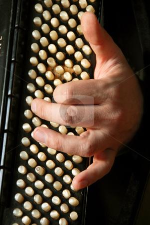 Musician hand playing accordion stock photo, Musician hand playing accordion closeup in dramatic shadows by Julija Sapic