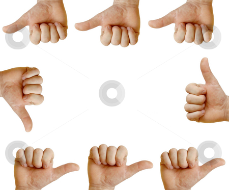 Hands showing each other stock photo, Similar hands showing sign isolated over white by Julija Sapic