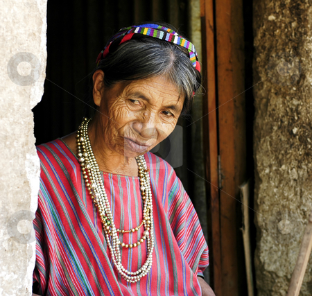 Village Woman in Doorway stock photo, Lake Atitlan, Guatemala by Michael Cohen