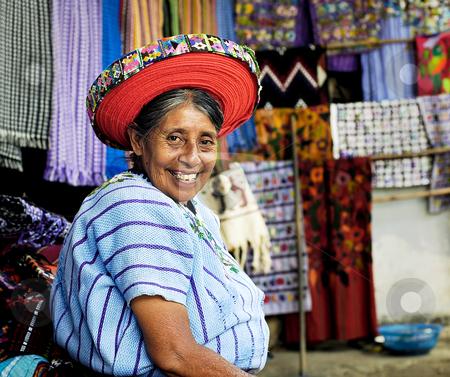 Market Stall Holder stock photo, Lake Atitlan, Guatemala by Michael Cohen